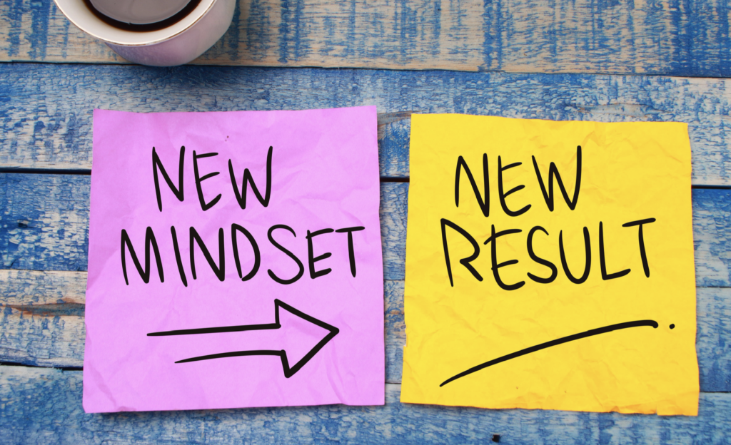 Post-it notes depicting New Mindset leading to New Results